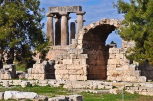 North Forum Shop with Temple of Apollo, Corinth (Holy Land Photos)